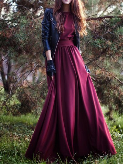 5c79bece31 Shop Burgundy Round Neck Maxi Dress online. SheIn offers Burgundy Round  Neck Maxi Dress   more to fit your fashionable needs.