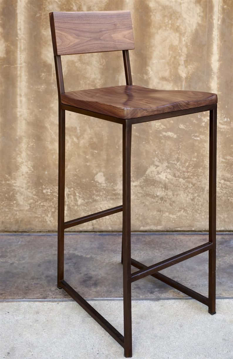 Height 13 40in 33 99cm And Wood Bar Stool Etsy Metal Bar Stools Metal Wood Bar Stool Wood Bar Stools