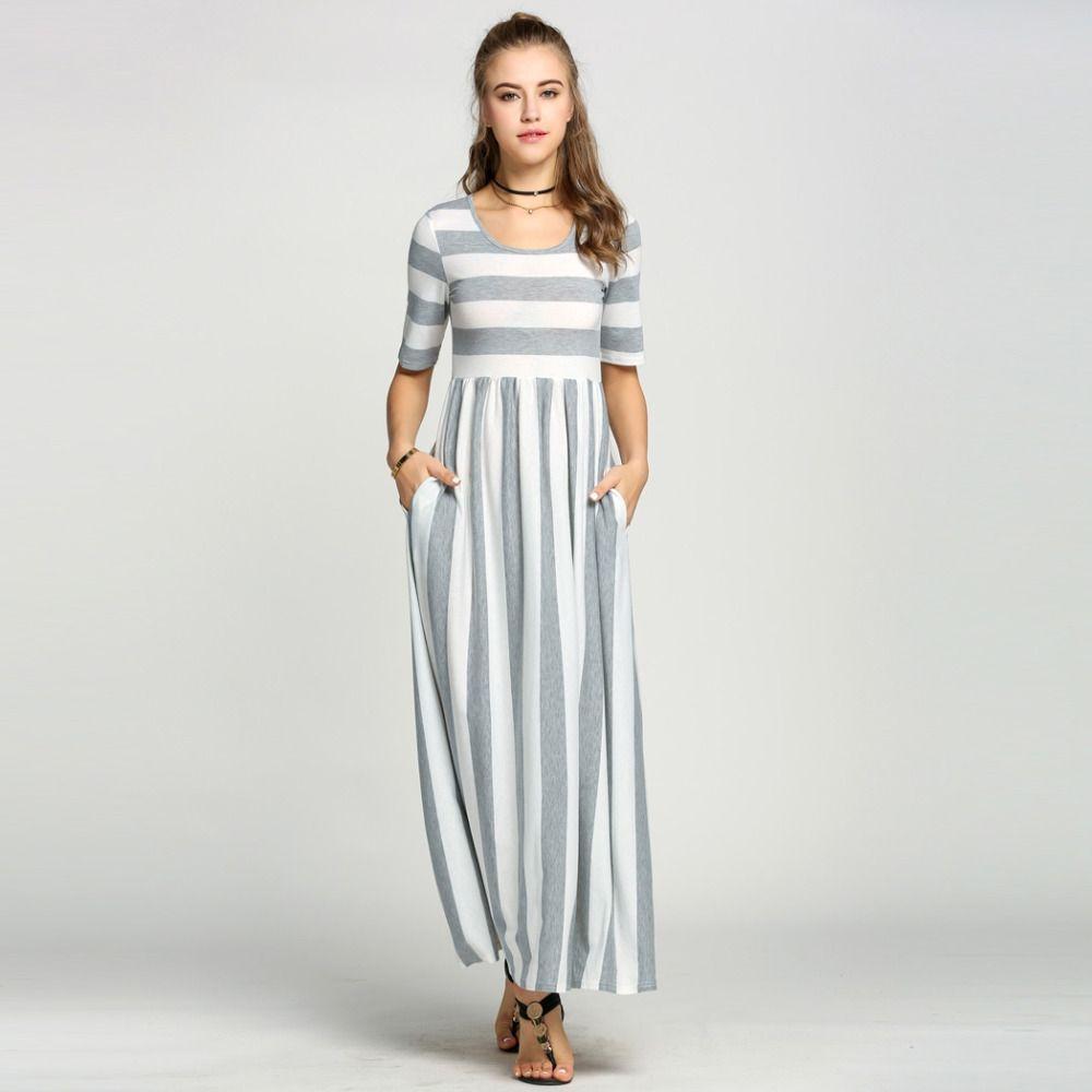 Womenround neck half sleeve high waist striped patchwork long maxi