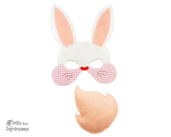 c58ef6645 Rabbit Costume DIY Bunny Mask Tail Set Felt Hare Easter Tutorial Easy Cute  Cosplay - Adults Children Sizes