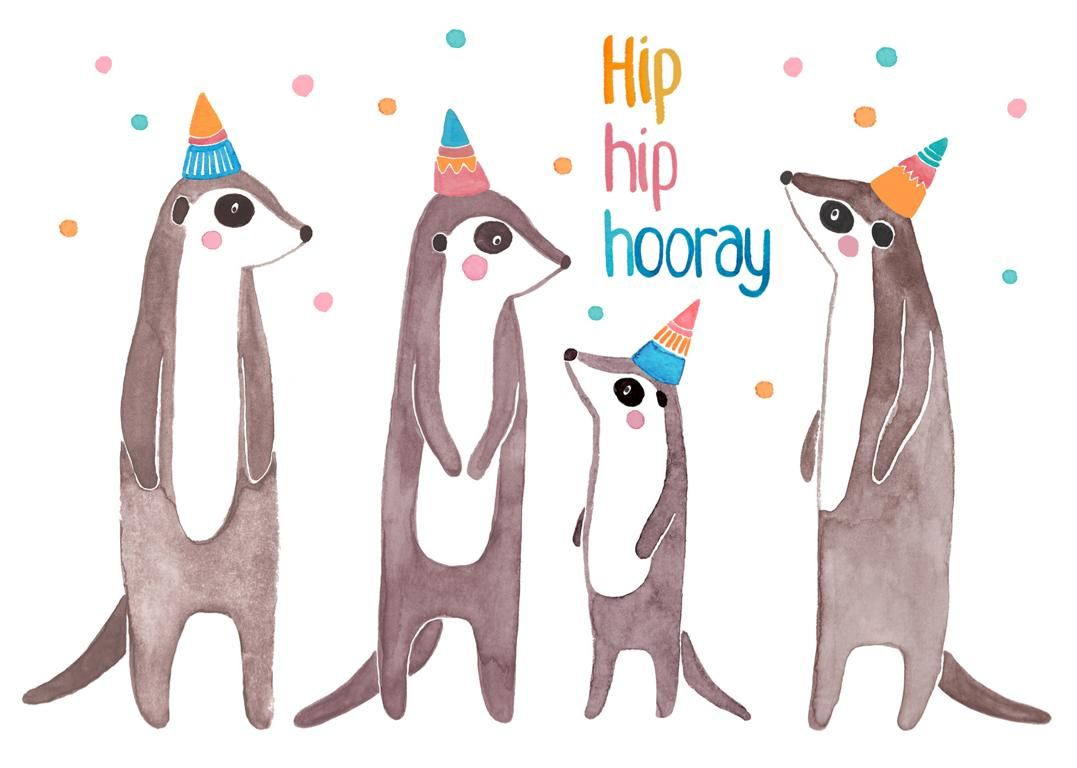 Postkarte Hip Hip Hooray Mit Erdmannchen Postkarte Karte