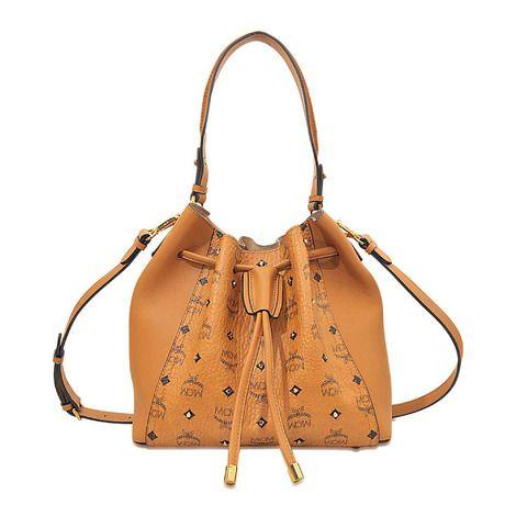 MCM Gold Visetos Drawstring Medium Tasche | Mcm handbags