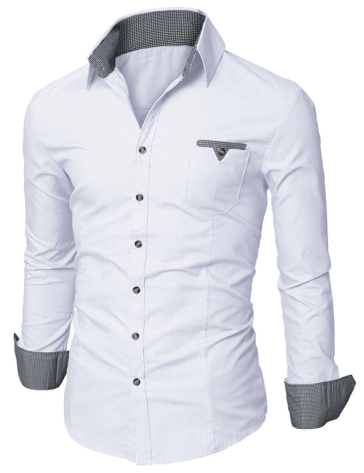Mens white casual dress shirts