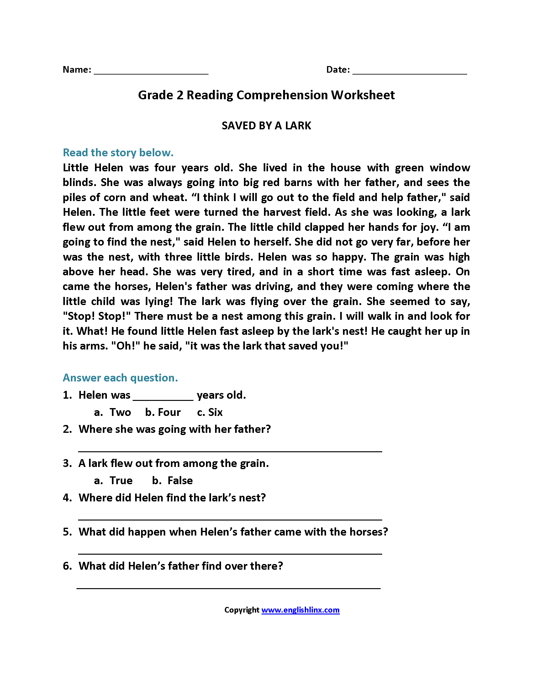 Saved By Lark Second Grade Reading Worksheets 2nd Grade Reading Worksheets Reading Comprehension Worksheets Comprehension Worksheets