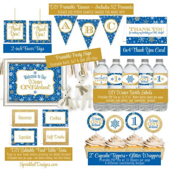 Winter Onederland Birthday Decorations Royal Blue Gold Glitter