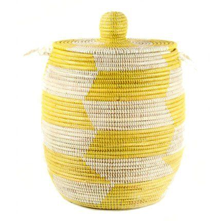 Woven African Laundry Clothes Hamper Yellow Large Fair Trade