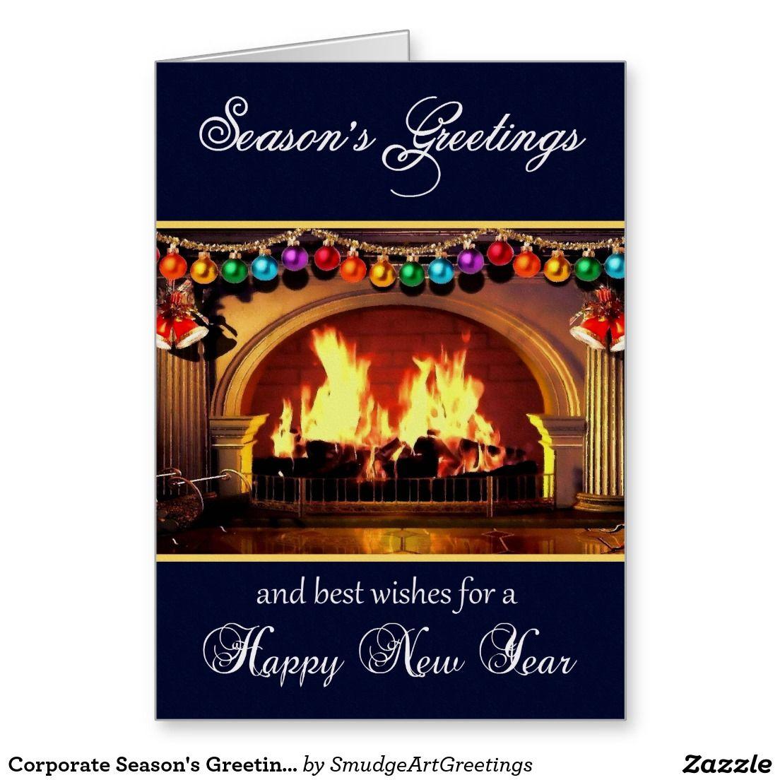 Corporate Seasons Greetings Happy New Year Holiday Card