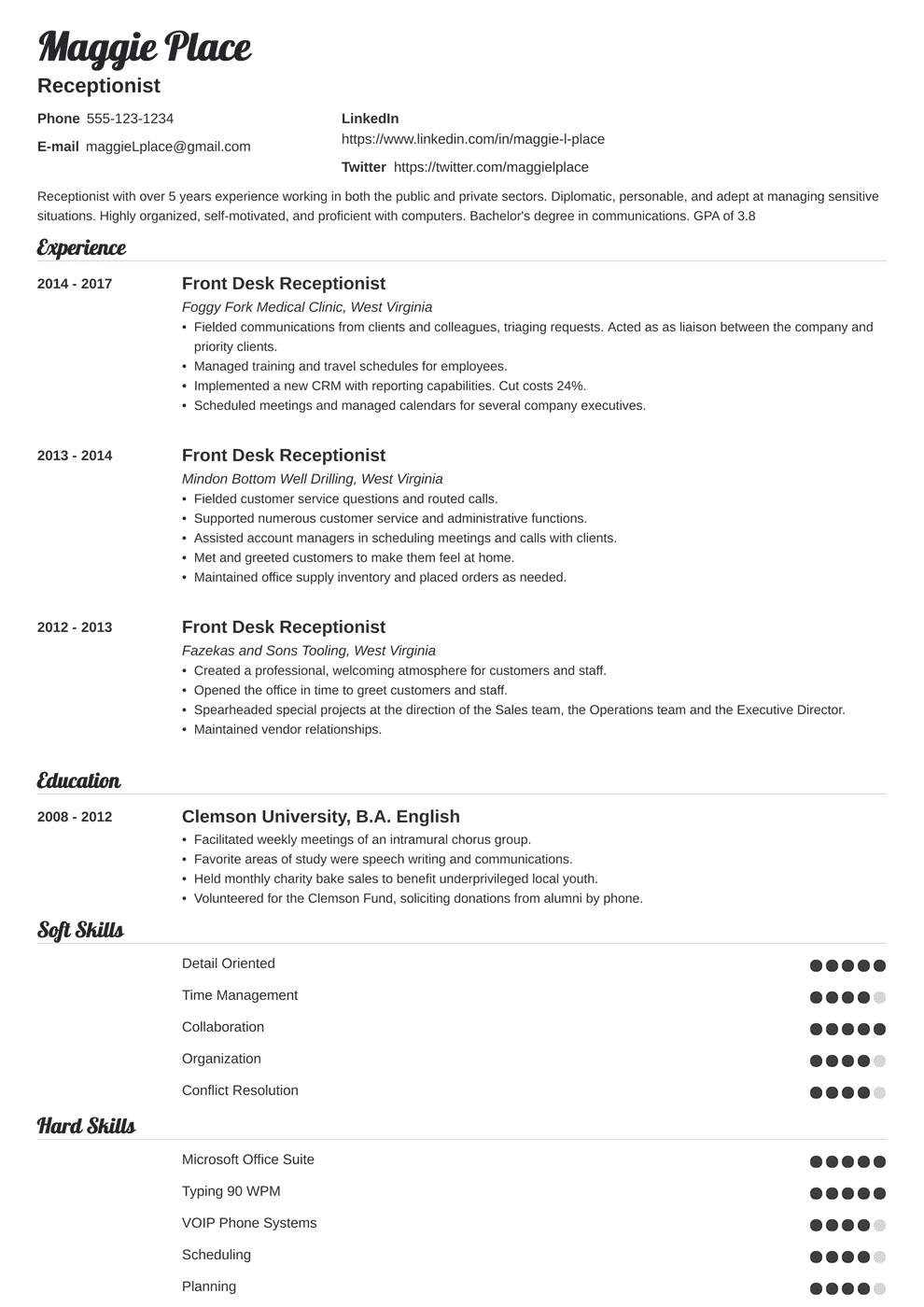 receptionist resume template valera in 2020 Resume