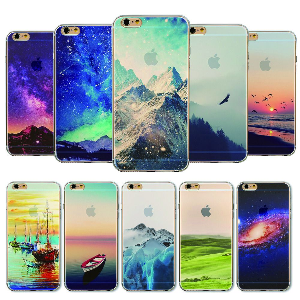 다시 커버 apple iphone 6 6 s 케이스 로맨틱 풍경 소프트 sillicon 투명 tpu 휴대 전화 가방 fundas coque 보호기