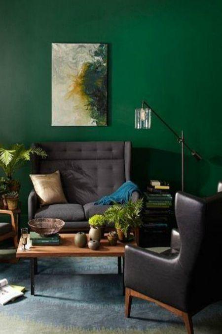 Deep Green Walls Home ፥ Deep Greens Dark Green Living