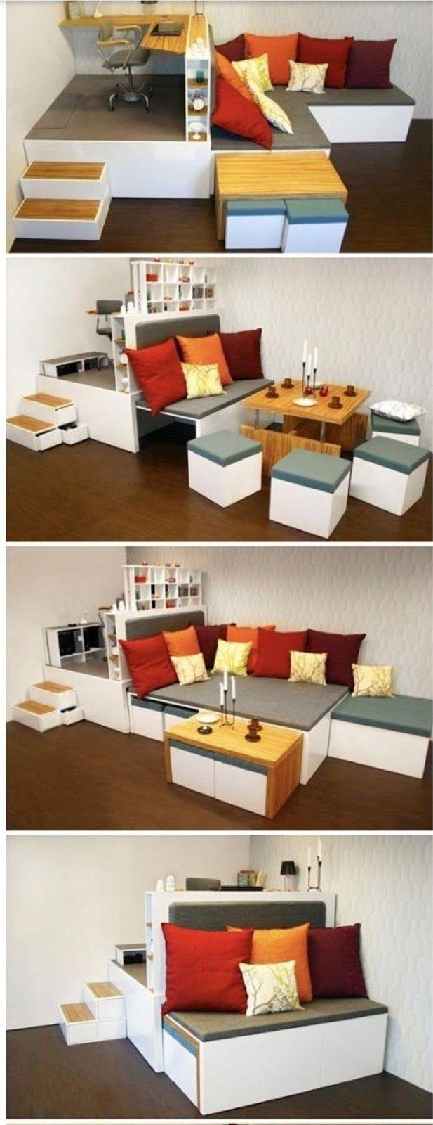 Mueble Integral Multi Usos Para Espacios Peque Os Efficient  # Muebles Multifuncionales Para Espacios Pequenos