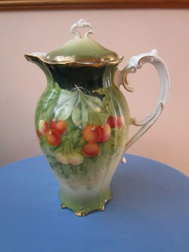 Hand-painted Bavaria, Guillaume signed Porcelain Pitcher wuith lid