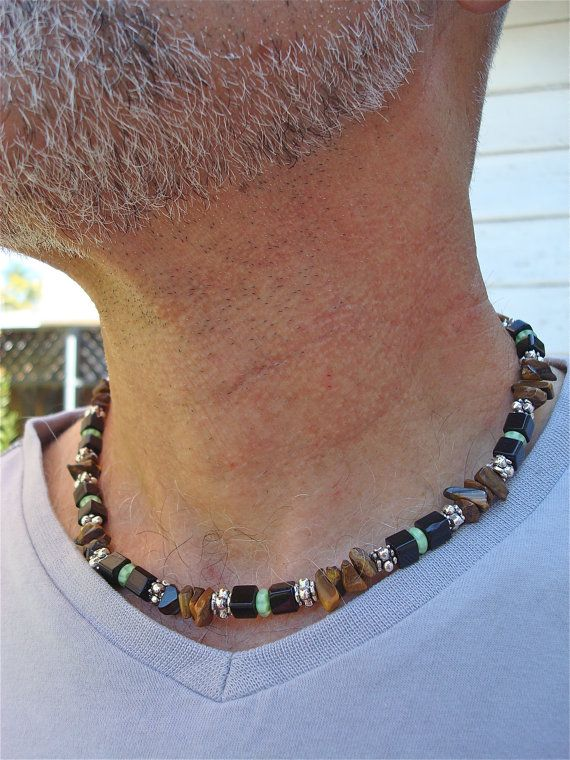Men's Necklace with Semi Precious Stones Tiger's by tocijewelry, $65.00