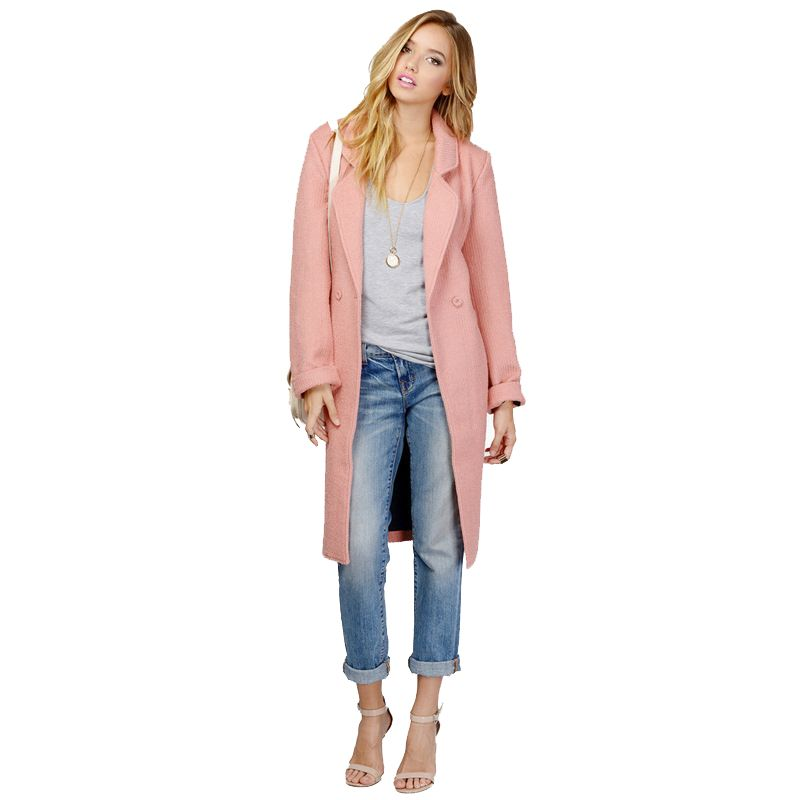the latest 8df90 1b5b3 Günstige Herbst Winter Neue Mode Rosa Trenchcoat Damen Büro ...