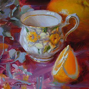 Daffodil Cup and Orange by Elena Katsyura ~ 6 x 6