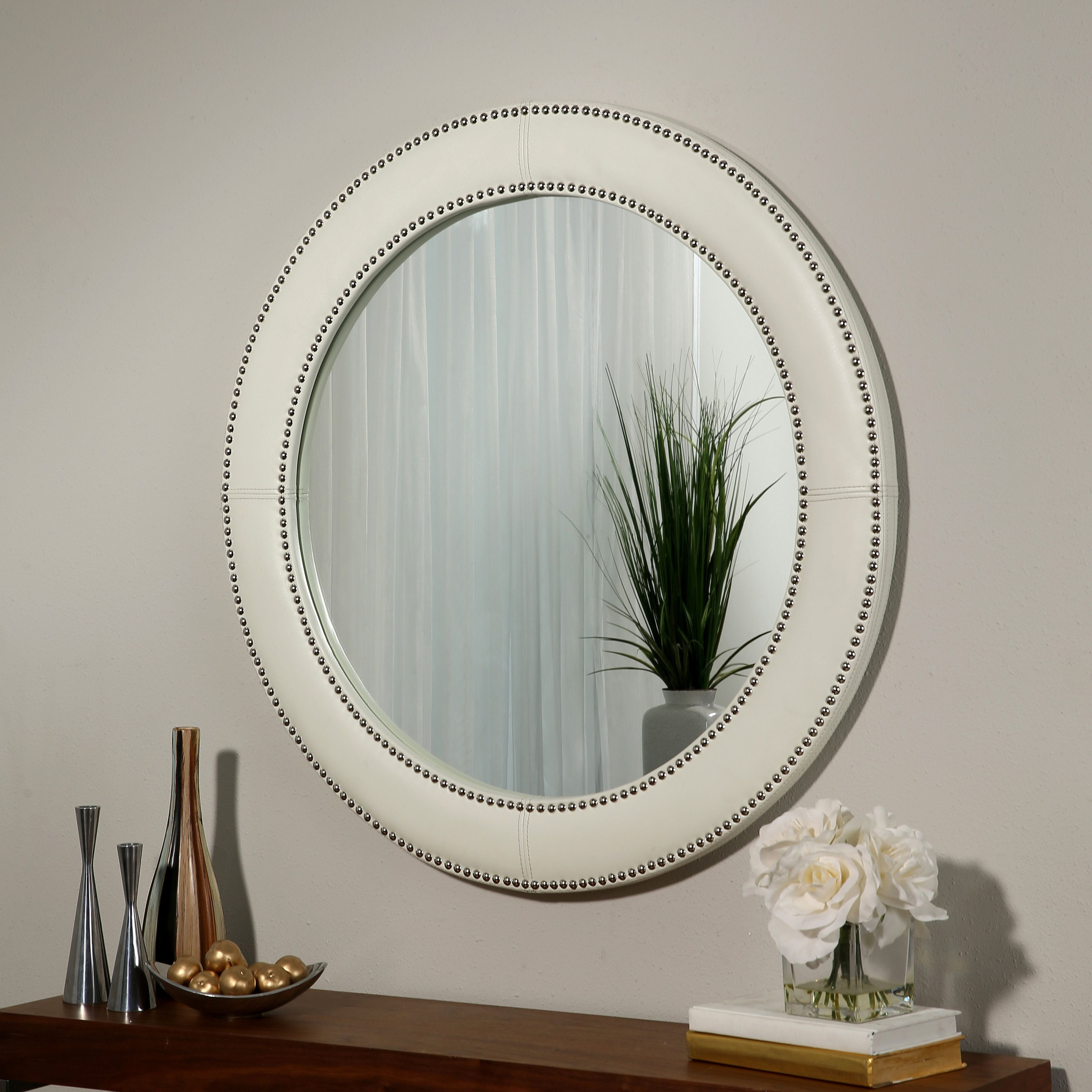 Abbyson white leather wall mirror by abbyson products leather mirror abbyson leather wall mirror amipublicfo Gallery