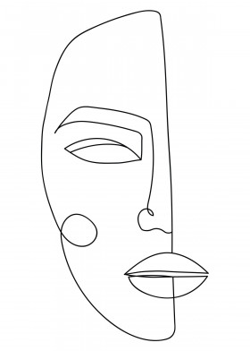 One Line Face Minimalistic Poster Print | metal posters
