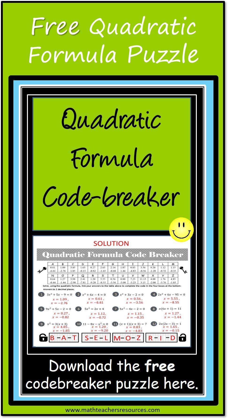 Quadratic Formula Activity Quadratics Quadratic Formula Solving Quadratics [ 1785 x 972 Pixel ]