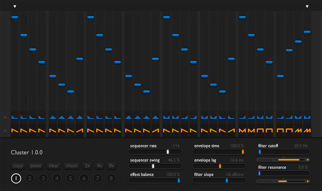 Cluster - Apply intricate spectral transformations. Re-engineer drum and percussion loops. Create colourful motion textures virtually out of anything. Cluster is one plugin that does a myriad of filter effects.