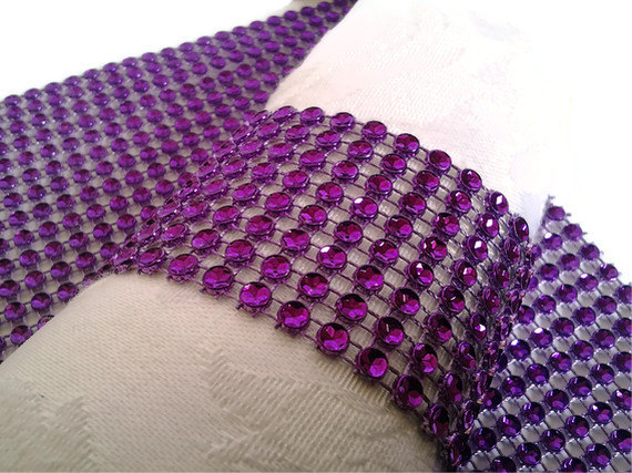 Purple Bling Napkin Rings Wedding Ring Holders Rhinestone Wraps Bridal Shower Or Party Table Decor 25 Pcs