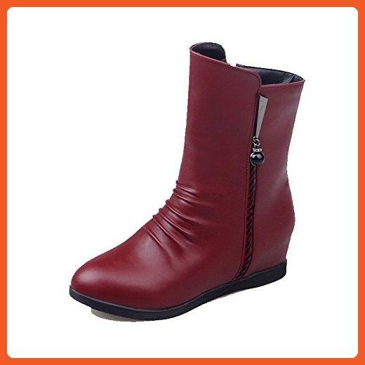 Women's Zipper Round Closed Toe High-Heels Pu Solid Boots Claret 34