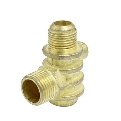 Double Male To 1 Female Air Compressor Check Valve Replacement Brass Tone Brass Compressor Air Compressor