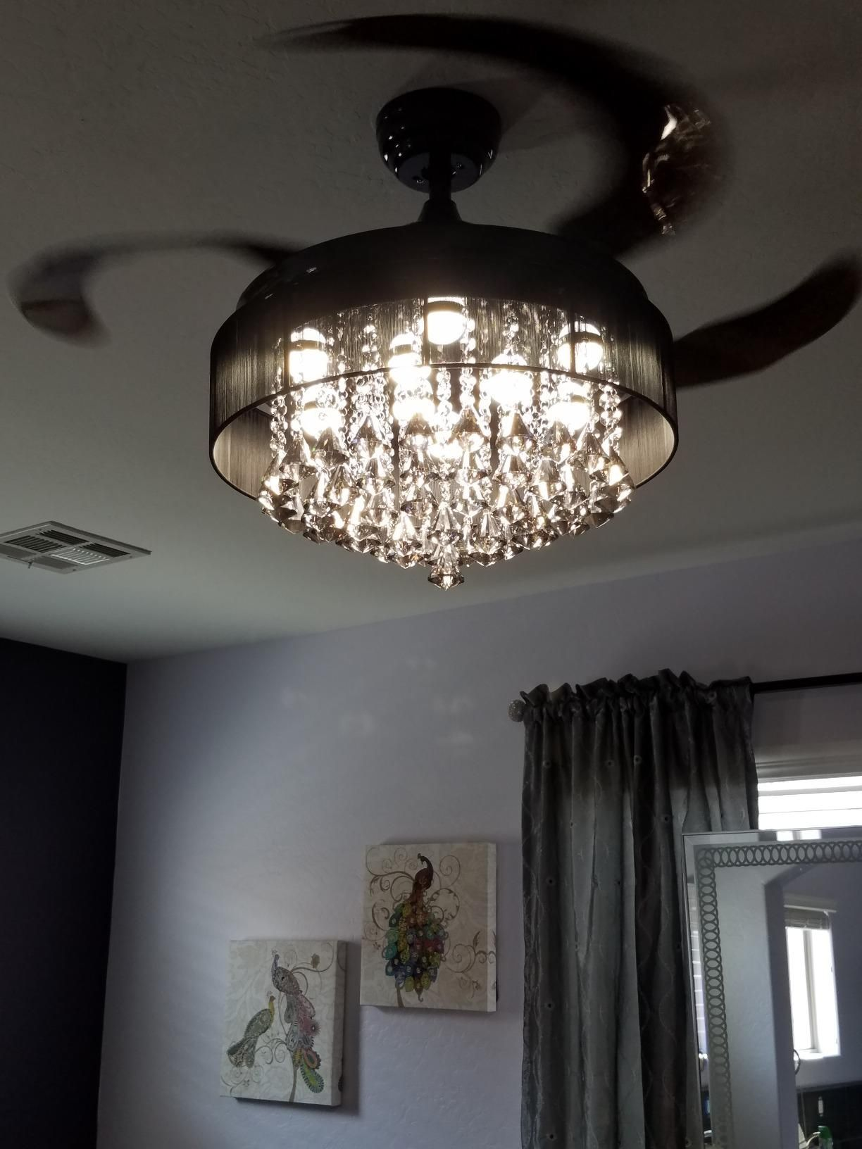 46 Broxburne Modern Crystal Retractable Ceiling Fan With Led Lights And Remote Control Black Chandelier Fan Bedroom Ceiling Light Ceiling Fan Chandelier