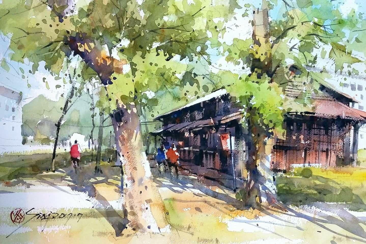 Pin By Gulin Ertuna On Art 2 Watercolor Landscape Landscape