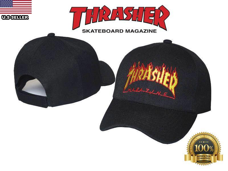 5808b8be11ff thrasher hat cap black thrasher skateboarding magazine velcro strap back  adjustable one size by thetreasurekeeper77 on Etsy