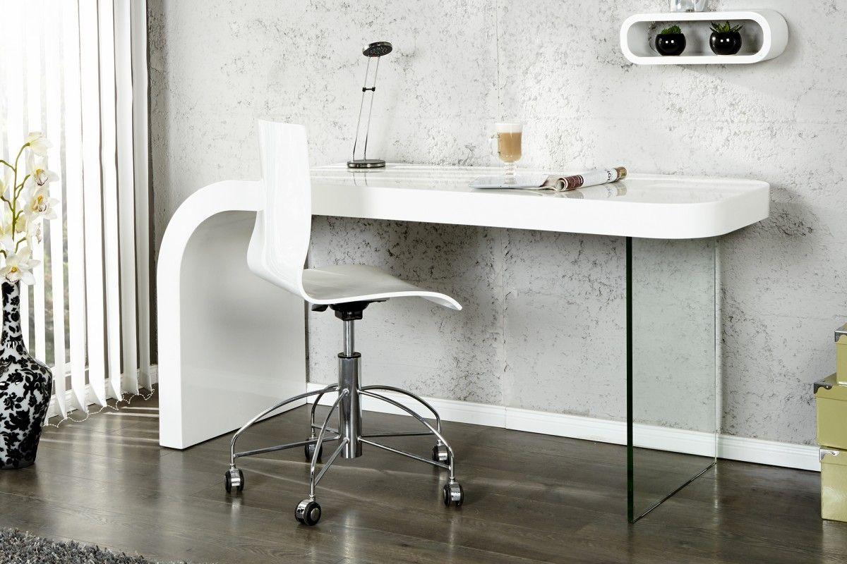 Bureau blanc design bois et verre comforium bureau en bois