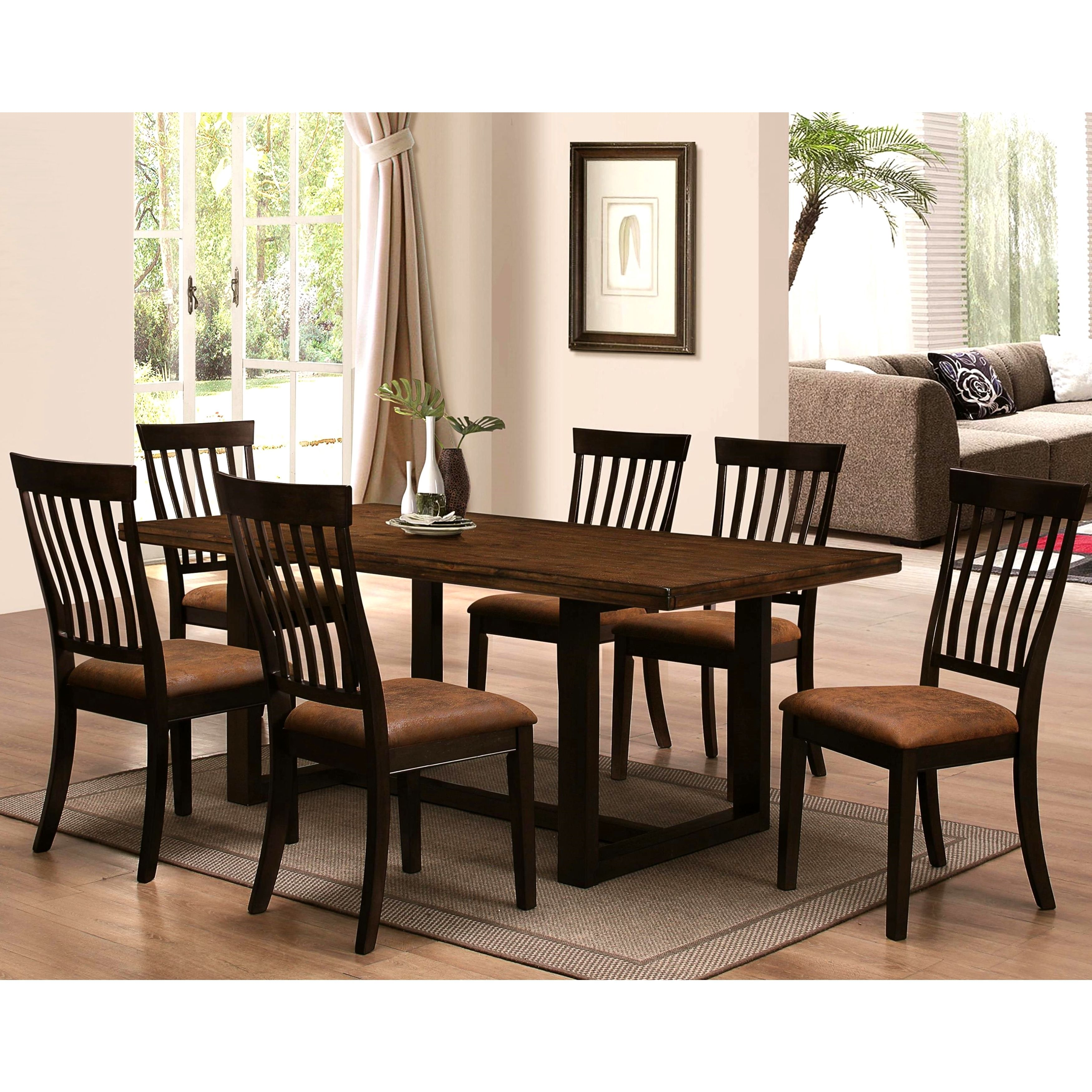 sen remo rustic two tone 7 piece dining set 1 table 6 chairs black size 7 piece sets