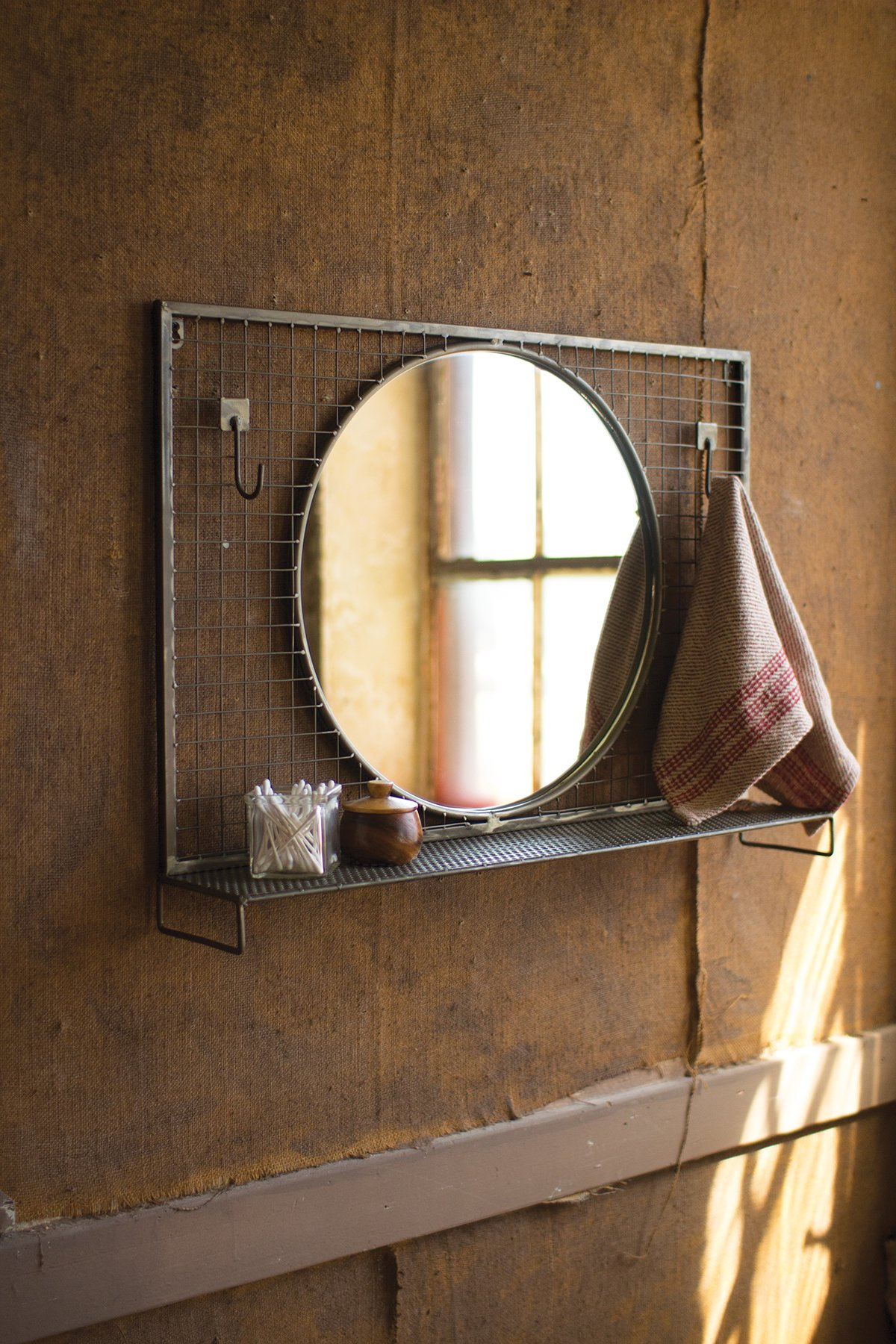 round mirror with wire mesh wall hooks metal shelf products rh pinterest com