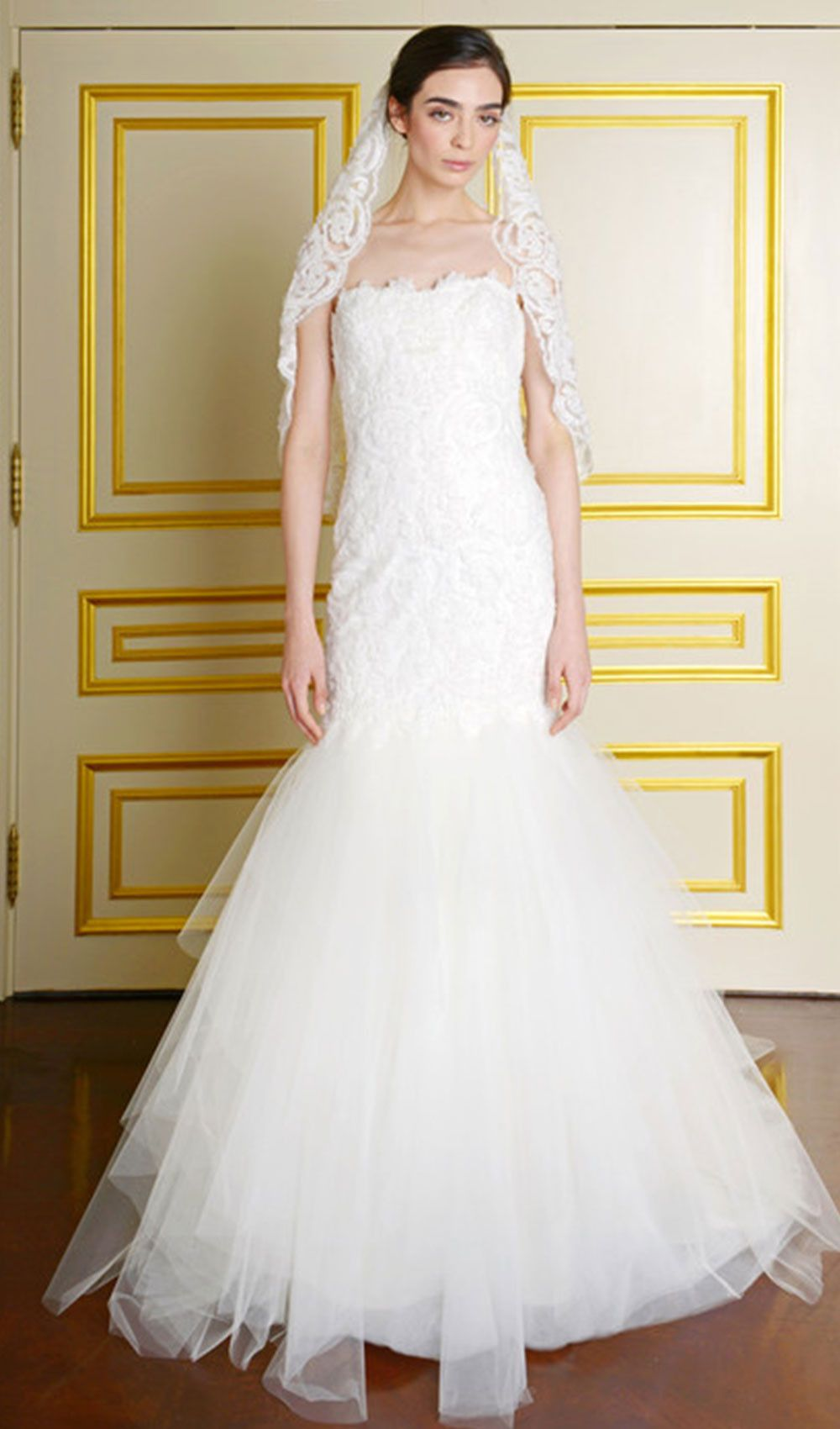 Elegant fitted wedding dresses  Try this elegant fit to flare wedding dress from Marchesa at