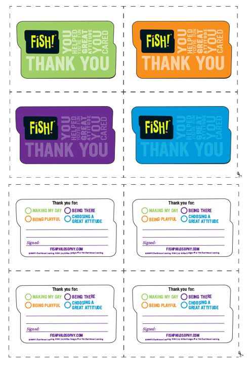 Print these fish thank you cards and let someone know how for Fish philosophy video