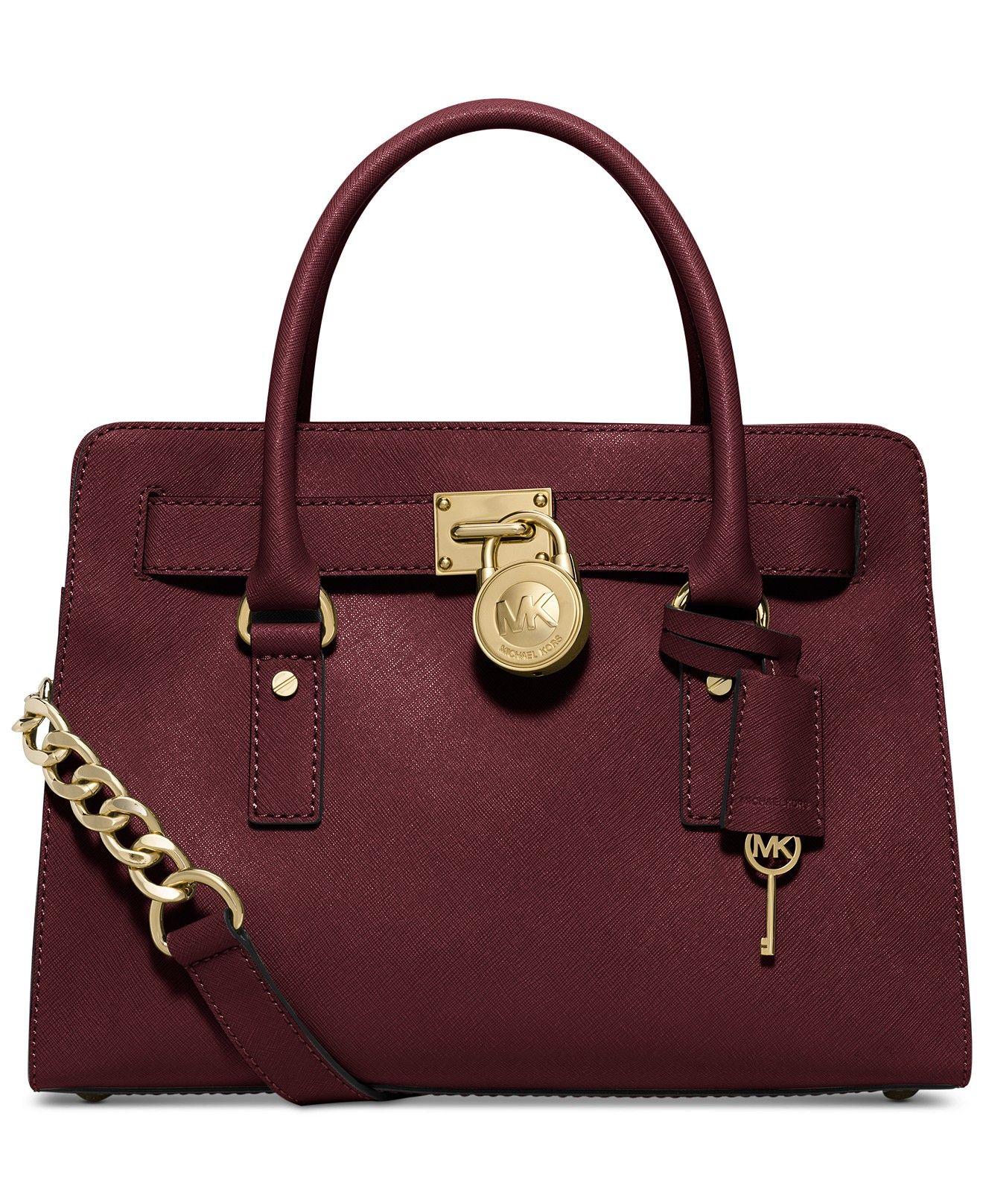 f74a77482537 MICHAEL Michael Kors Hamilton Saffiano Leather East West Satchel - Michael  Kors Handbags - Handbags   Accessories - Macy s