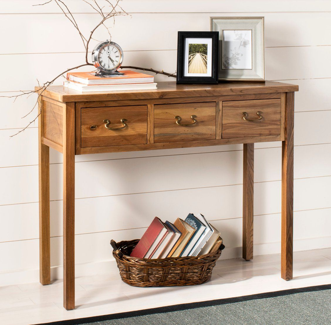 The Cindy Console With Slightly Tapered Legs Medium Oak Finish And Three Drawers With Brass Hinges Has A Wood Console Table Gray Console Table Console Table