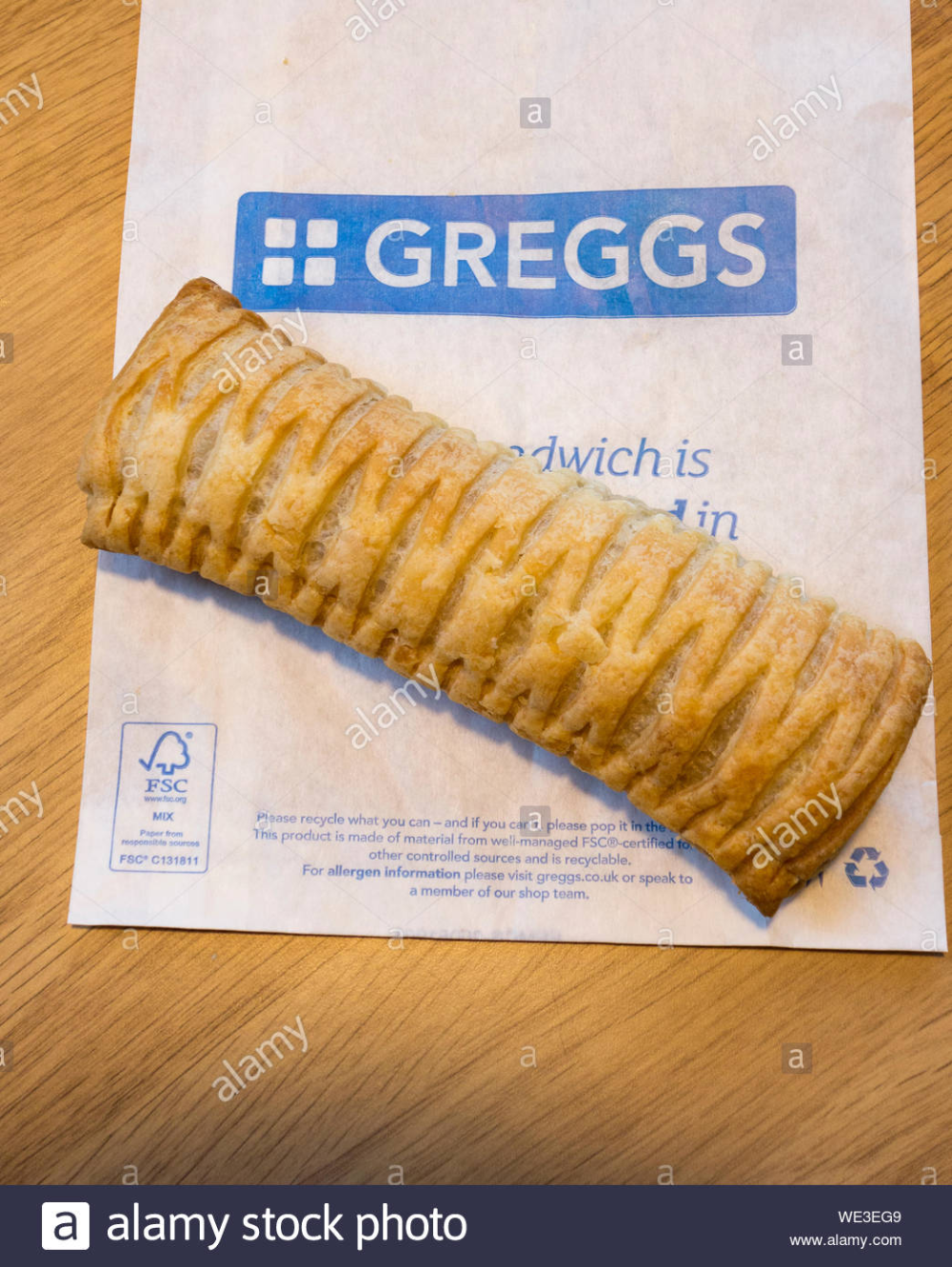 A Greggs Vegan Friendly Sausage Roll Sitting On Top Of Some Greggs Packaging Stock Photo In 2020 Sausage Rolls Vegan Friendly Greggs