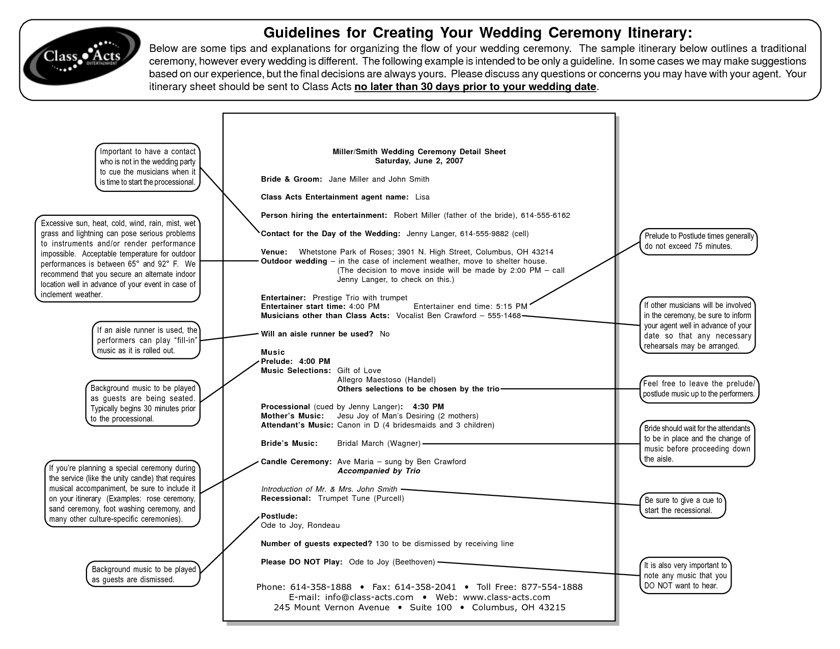 Outline For Formal Wedding Itinerary Guidelines Creating Your Ceremony