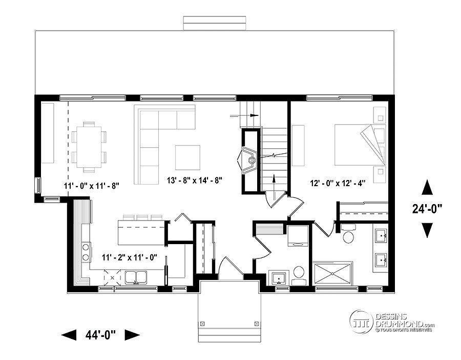 Détail du plan de Maison unifamiliale W3988-V1 Small bouse 450 - image de plan de maison