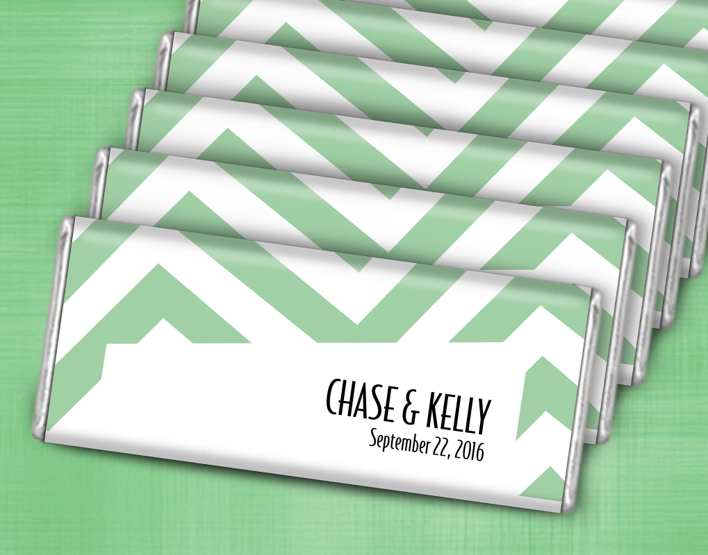 Your wedding day will be minty fresh with these chevron personalized ...