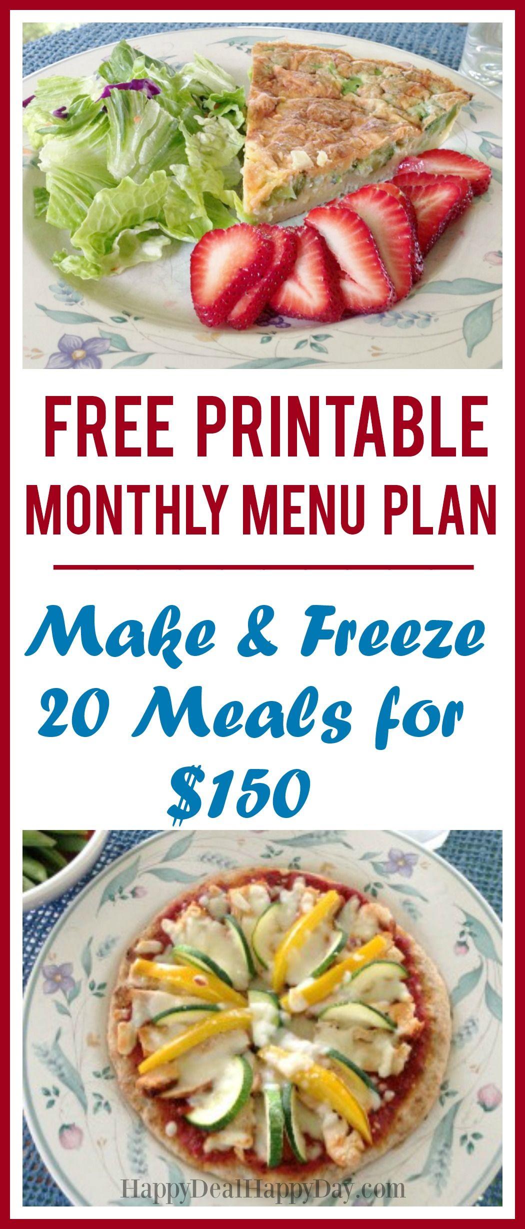 Free Printable Monthly Menu Plan Make Amp Freeze 20 Meals