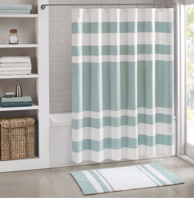 White Waffle Weave Shower Curtain Best Shower Curtain Ideas