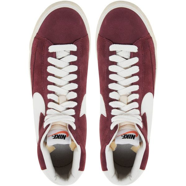 sale retailer bd8ed 99f0c Nike Blazer Mid Burgundy Trainers ( 61) ❤ liked on Polyvore featuring shoes,  sneakers, chaussures, flats, nike flats, suede shoes, grip shoes, burgundy  ...