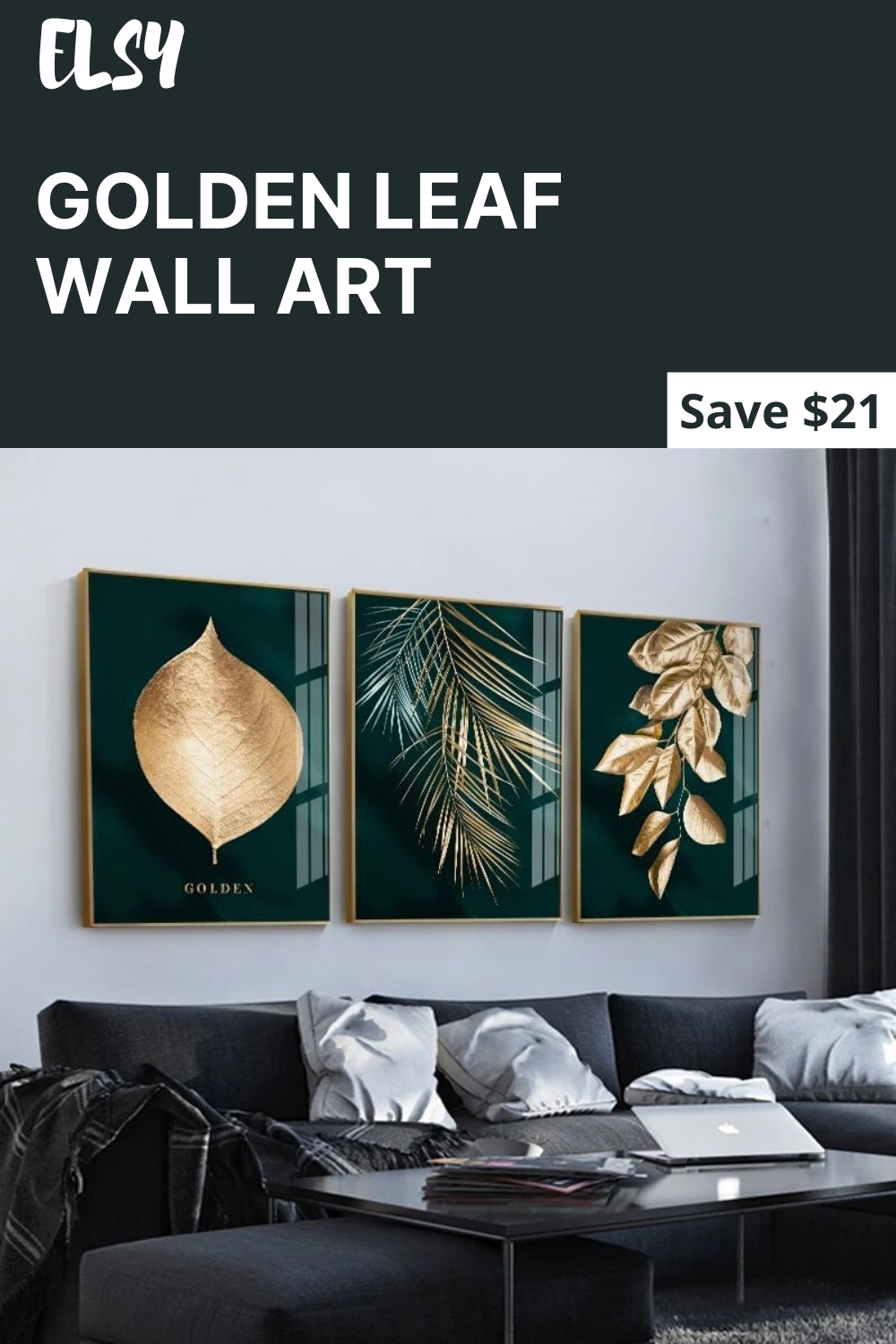 Golden Leaf Canvas Abstract Painting Wall Art Leaf Wall Art