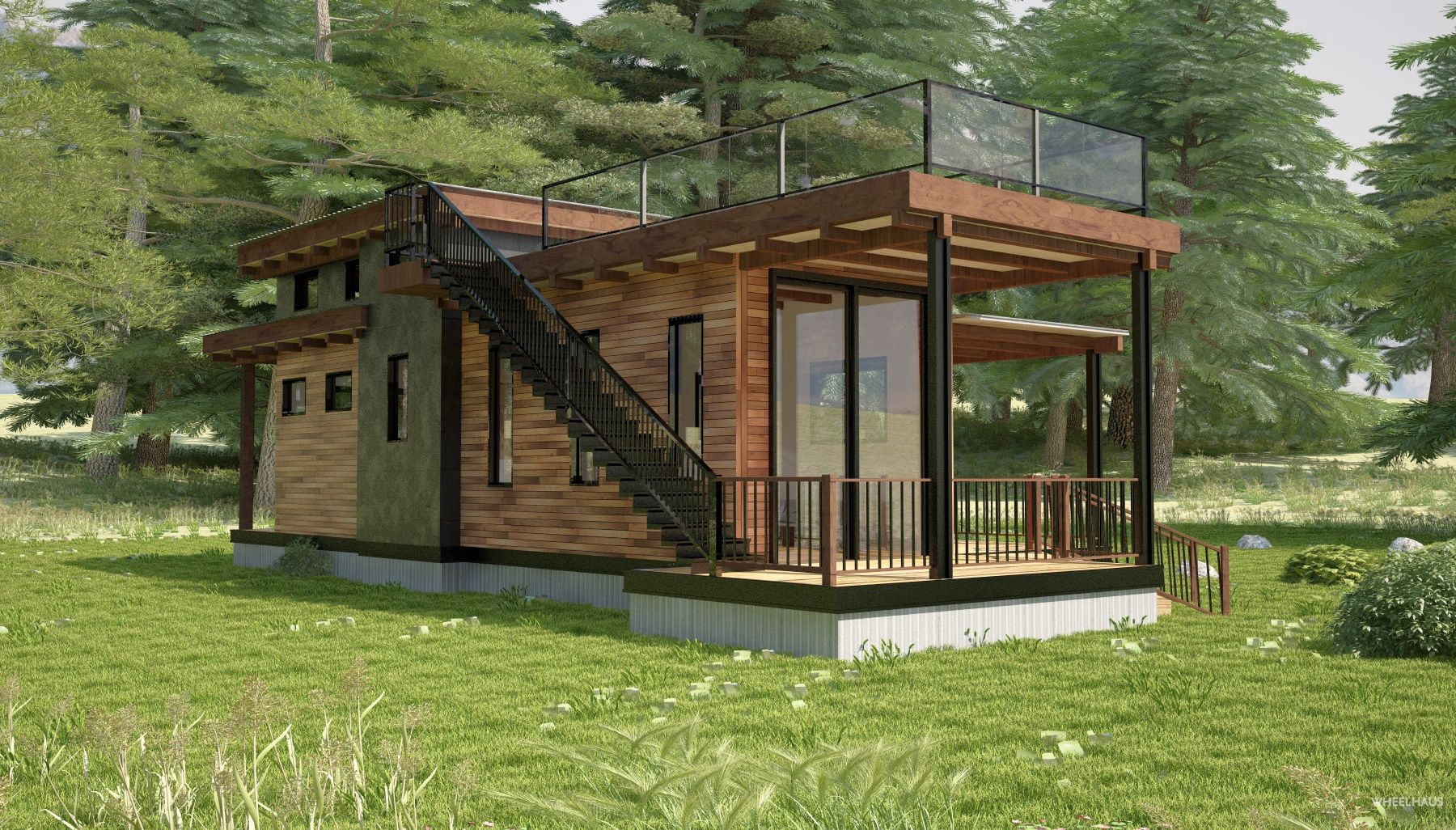 Flat Roof Caboose Flat Roof House House Roof Gable Roof Design