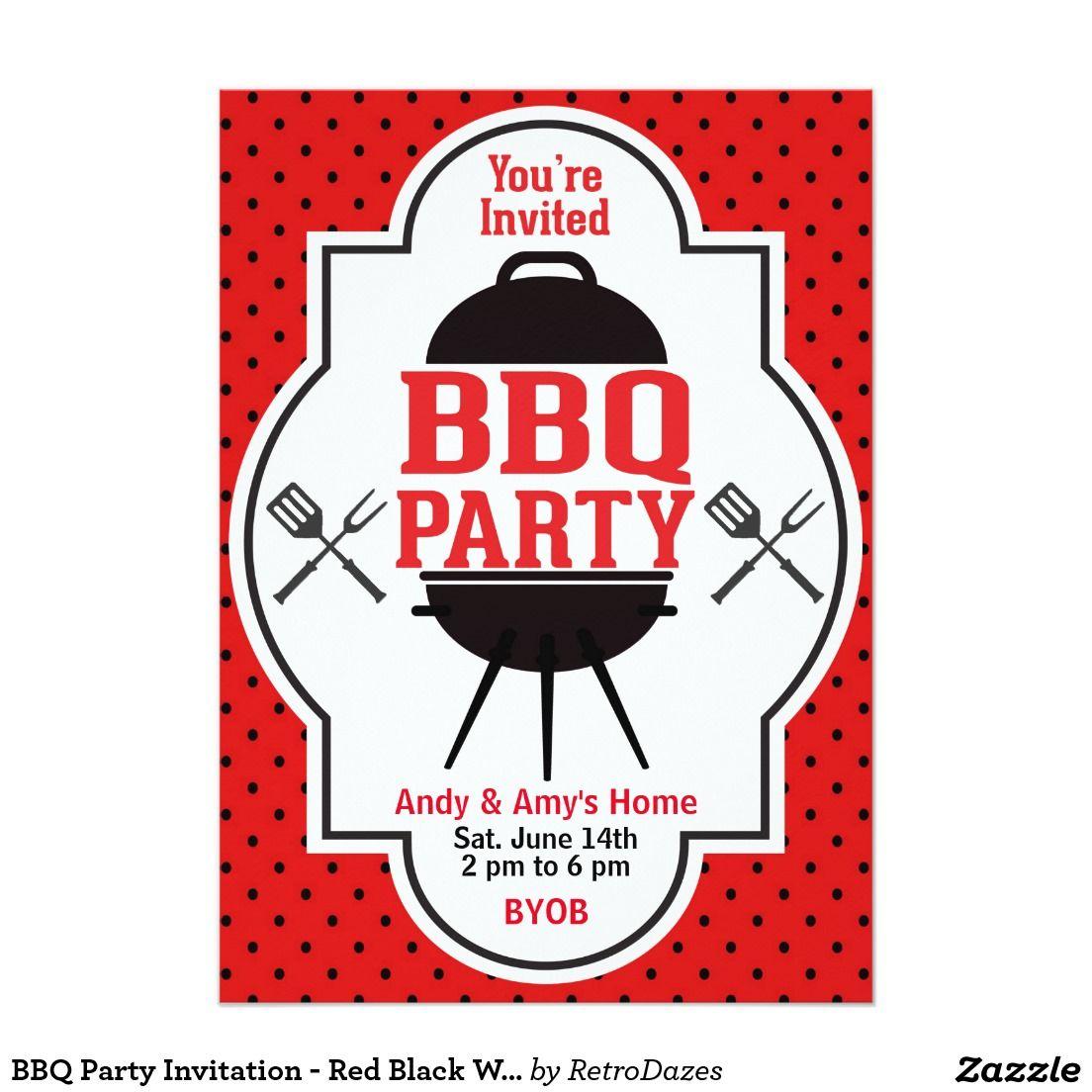 BBQ Party Invitation - Red Black White - Barbecue | Invitations ...