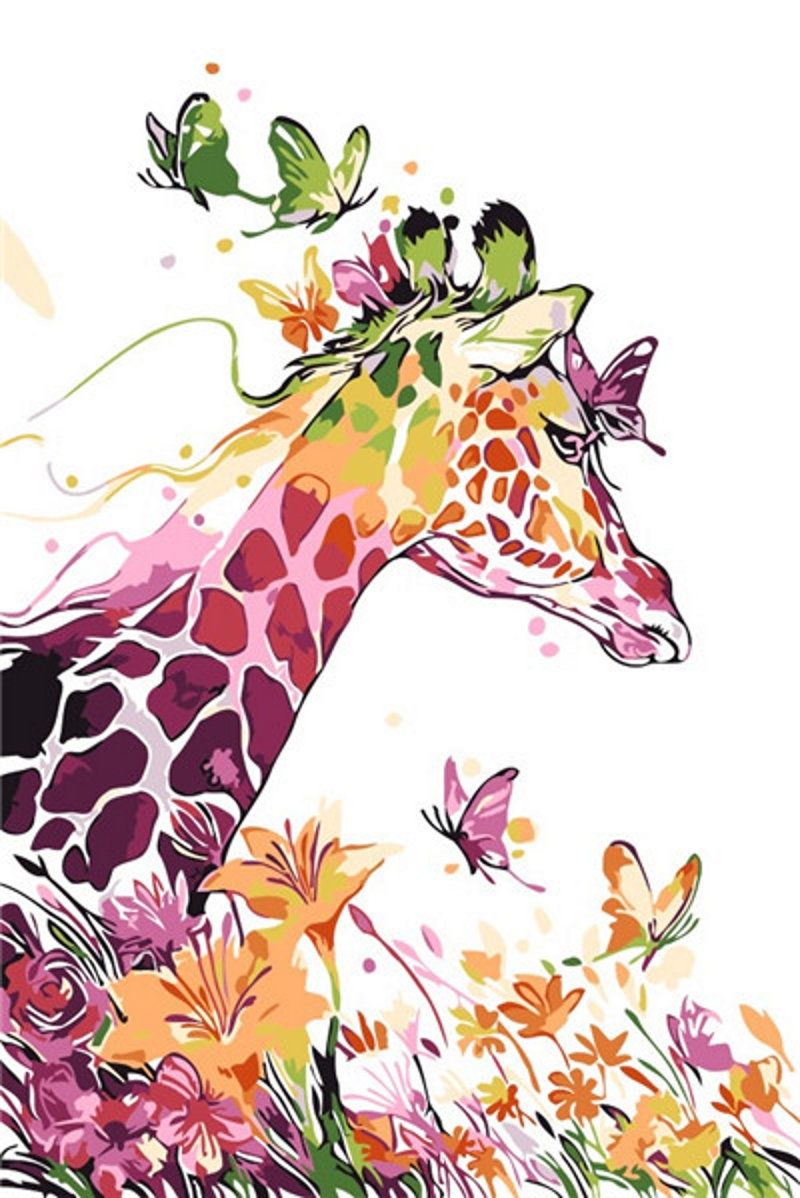 Giraffe Paint By Number Kit Animal And Flower Diy Painting On Canvas Paint 16 20 Coloring By Number Diy Gif Deer Painting Giraffe Painting Canvas Painting Diy
