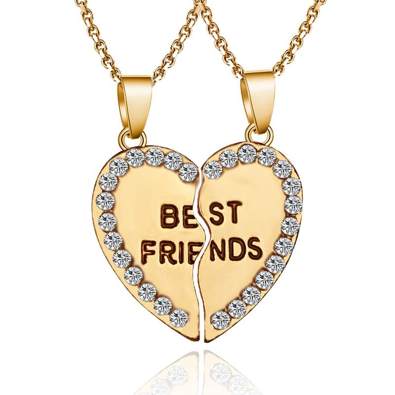 Best Friend Necklace 2 Pieces Stitching Broken Heart Letter Pendant Gold Silver Crystal Necklace Fo Friend Necklaces Friendship Jewelry Best Friend Necklaces