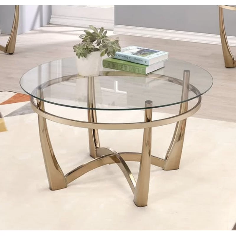 Jauss Contemporary Round Living Room Coffee Table Clear Coffee
