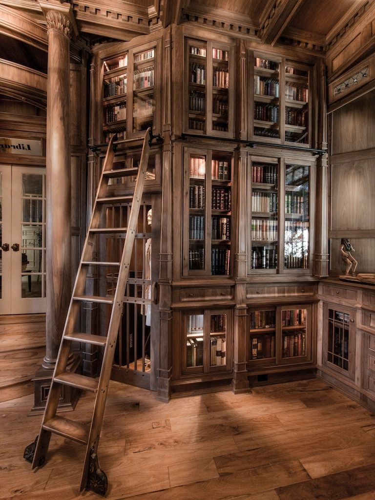 An Amazing Home Library Made Of 10 000 Pieces Of Walnut Pictures Floor To Ceiling Bookshelves Home Library Library Ladder